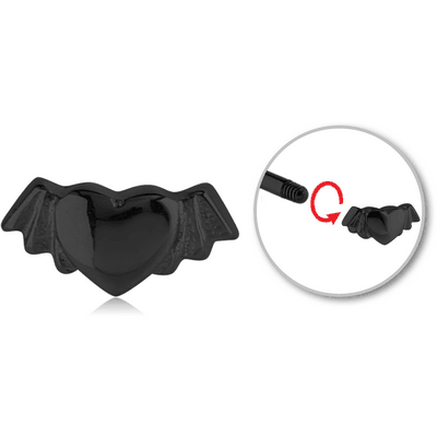 BLACK PVD COATED SURGICAL STEEL MICRO THREADED WINGED HEART ATTACHMENT