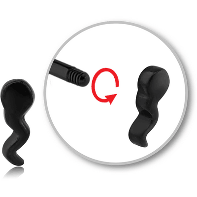 BLACK PVD COATED SURGICAL STEEL MICRO THREADED ATTACHMENT - SPERM