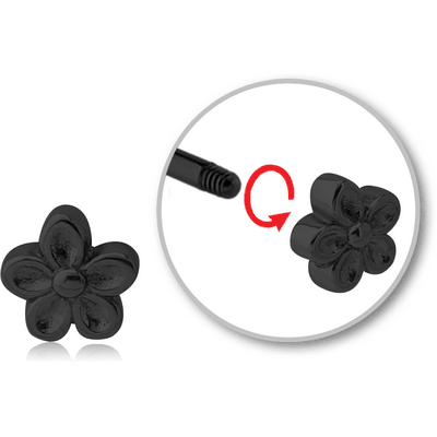 BLACK PVD COATED SURGICAL STEEL MICRO THREADED ATTACHMENT - FLOWER