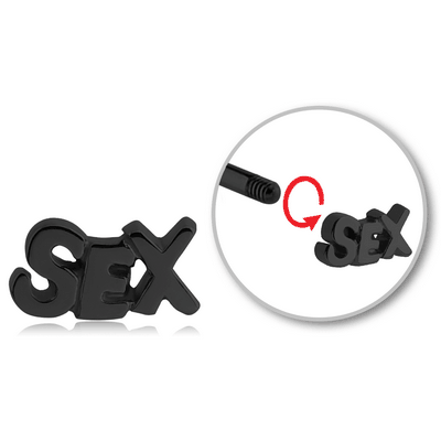 BLACK PVD COATED SURGICAL STEEL MICRO THREADED SEX ATTACHMENT