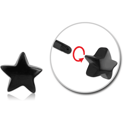 BLACK PVD COATED SURGICAL STEEL MICRO THREADED STAR ATTACHMENT
