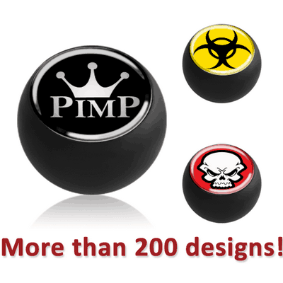 BLACK PVD COATED SURGICAL STEEL PICTURE BALL