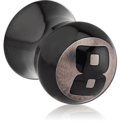 BLACK PVD COATED SURGICAL STEEL DOUBLE FLARED 8 BALL PLUG