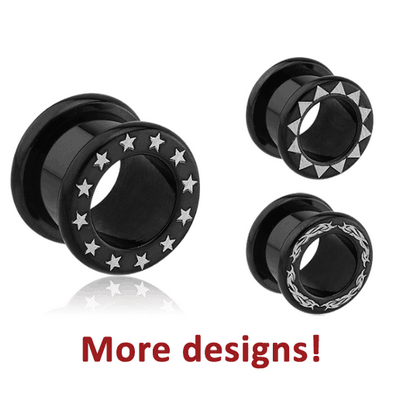 BLACK PVD COATED SURGICAL STEEL LASER ETCHED ROUND-EDGE THREADED TUNNEL
