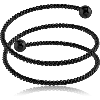 BLACK PVD COATED SURGICAL STEEL TWISTED WIRE BANGLE