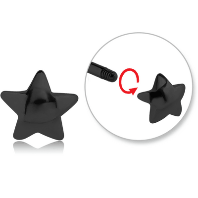BLACK PVD COATED SURGICAL STEEL ATTACHMENT FOR 1.6 MM THREADED PIN - STAR