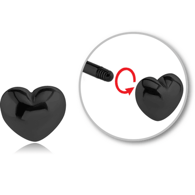 BLACK PVD COATED SURGICAL STEEL ATTACHMENT FOR 1.6 MM THREADED PIN - HEART