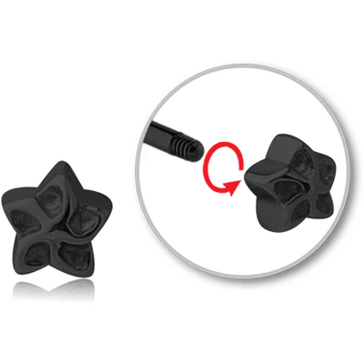 BLACK PVD COATED SURGICAL STEEL ATTACHMENT FOR 1.6 MM THREADED PIN - FLOWER