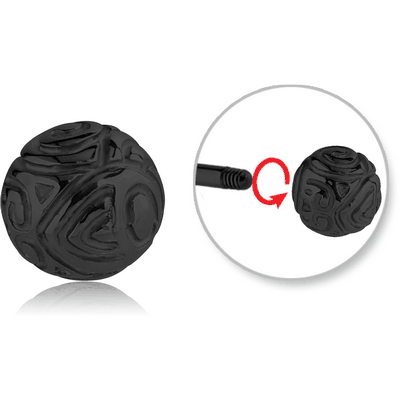 BLACK PVD COATED SURGICAL STEEL ATTACHMENT FOR 1.6 MM THREADED PIN - SWIRLS BALL
