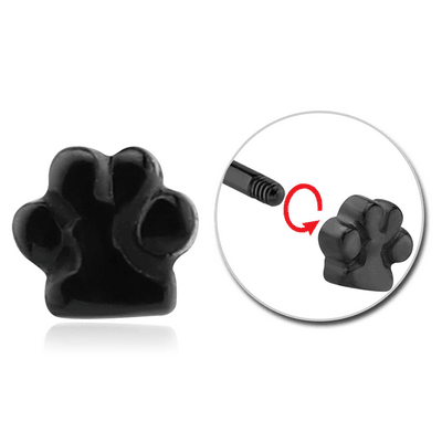 BLACK PVD COATED SURGICAL STEEL ATTACHMENT FOR 1.6 MM THREADED PIN - PAW