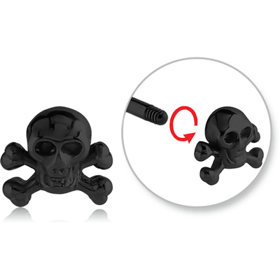 BLACK PVD COATED SURGICAL STEEL ATTACHMENT FOR 1.6 MM THREADED PINS - BONES SKULL