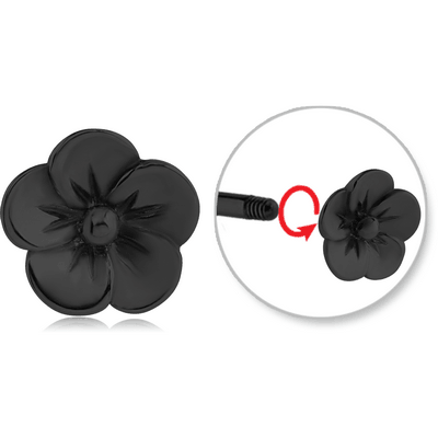 BLACK PVD COATED SURGICAL STEEL ATTACHMENT FOR 1.6 MM THREADED PINS - FLOWER