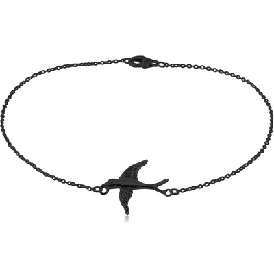 BLACK PVD COATED SURGICAL STEEL BRACELET - BIRD