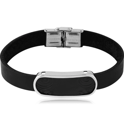 BLACK PVD COATED SURGICAL STEEL BRACELET - TAG