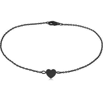 BLACK PVD COATED SURGICAL STEEL BRACELET - HEART