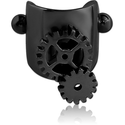 BLACK PVD COATED SURGICAL STEEL CARTILAGE SHIELD - STEAMPUNK