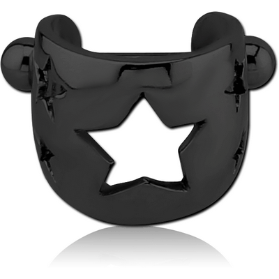BLACK PVD COATED SURGICAL STEEL CARTILAGE SHIELD - STARS