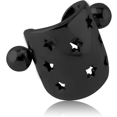 BLACK PVD COATED SURGICAL STEEL CARTLAGE SHIELD - STAR