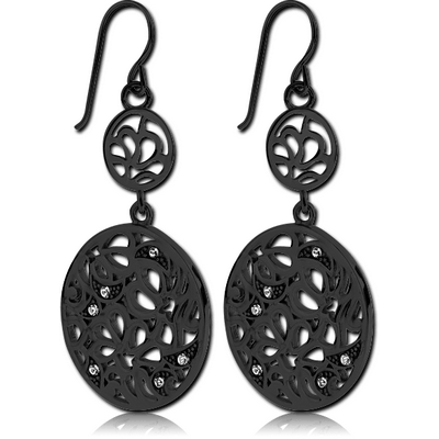 BLACK PVD COATED SURGICAL STEEL EARRINGS - BIG AND SMALL CIRCLES