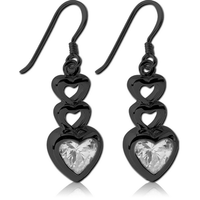 BLACK PVD COATED SURGICAL STEEL JEWELLED EARRINGS - THREE HEARTS