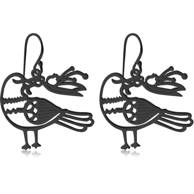 BLACK PVD COATED SURGICAL STEEL EARRINGS - BIRD