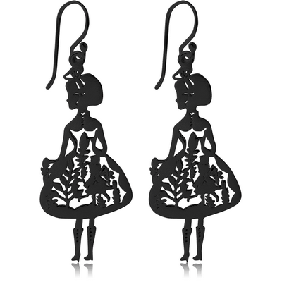BLACK PVD COATED SURGICAL STEEL EARRINGS - LADY