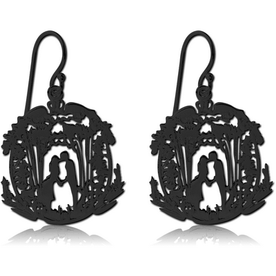BLACK PVD COATED SURGICAL STEEL EARRINGS - LOVE IN FOREST