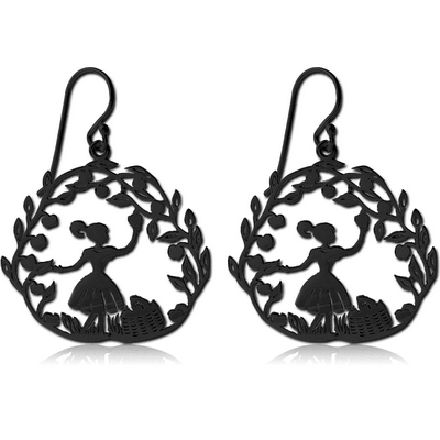 BLACK PVD COATED SURGICAL STEEL EARRINGS - PICKING APPLES