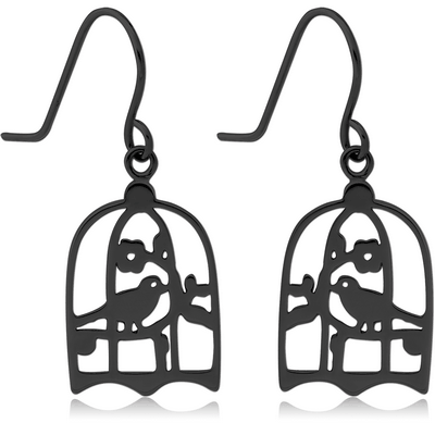 BLACK PVD COATED SURGICAL STEEL EARRINGS - BIRD IN CAGE