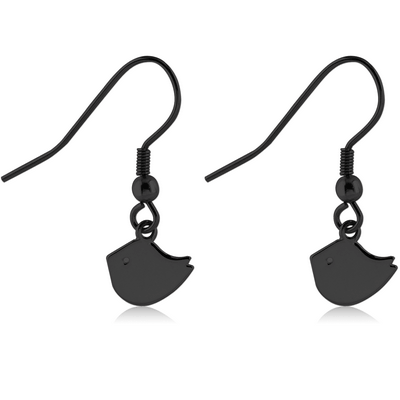 BLACK PVD COATED SURGICAL STEEL EARRINGS - CHICK