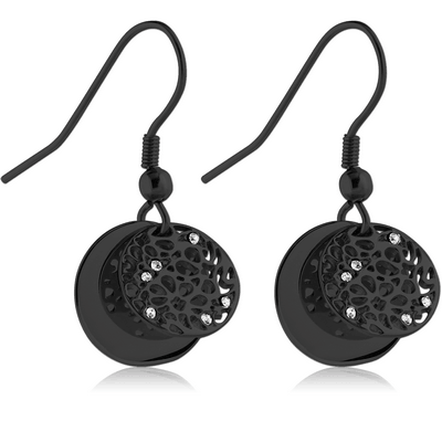 BLACK PVD COATED SURGICAL STEEL JEWELLED EARRINGS - TWO DISKS