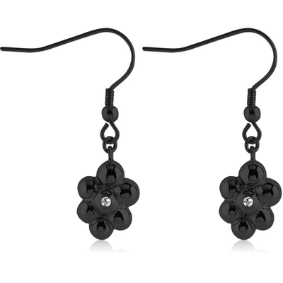 BLACK PVD COATED SURGICAL STEEL JEWELLED EARRINGS