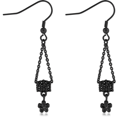 BLACK PVD COATED SURGICAL STEEL EARRINGS PAIR - BEAD WITH HANGING FLOWER