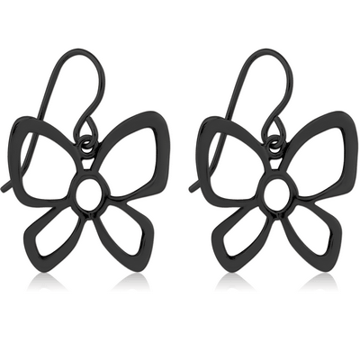BLACK PVD COATED SURGICAL STEEL EARRINGS PAIR - BIG BUTTERFLY