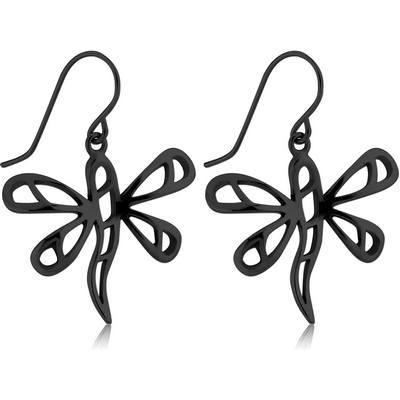 BLACK PVD COATED SURGICAL STEEL EARRINGS PAIR - BUTTERFLY