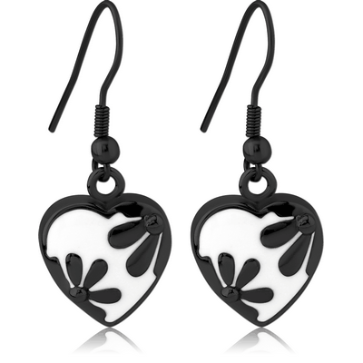 BLACK PVD COATED SURGICAL STEEL EARRINGS WITH ENAMEL - HEART WITH FLOWERS
