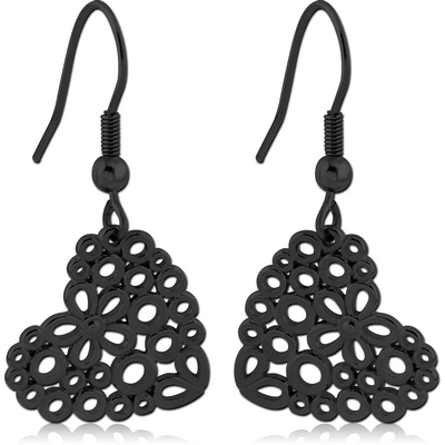 BLACK PVD COATED SURGICAL STEEL EARRINGS - HEARTS