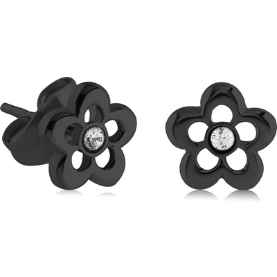 BLACK PVD COATED SURGICAL STEEL EAR STUDS PAIR - FLOWER