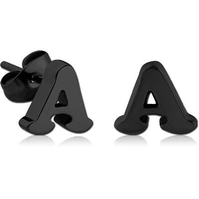 BLACK PVD COATED SURGICAL STEEL EAR STUDS PAIR - A