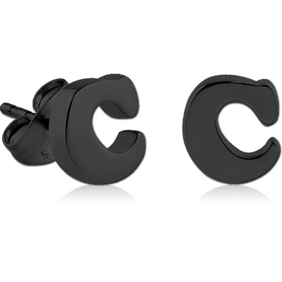BLACK PVD COATED SURGICAL STEEL EAR STUDS PAIR - C