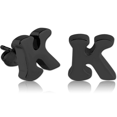 BLACK PVD COATED SURGICAL STEEL EAR STUDS PAIR - K