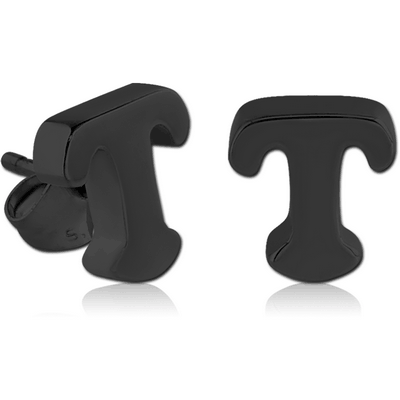 BLACK PVD COATED SURGICAL STEEL EAR STUDS PAIR - T