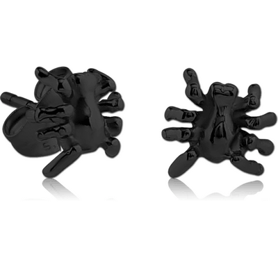 BLACK PVD COATED SURGICAL STEEL EAR STUDS PAIR - SPIDER