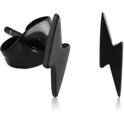 BLACK PVD COATED SURGICAL STEEL EAR STUDS PAIR - LIGHTNING