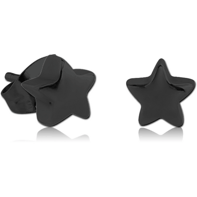 BLACK PVD COATED SURGICAL STEEL EAR STUDS PAIR - STAR