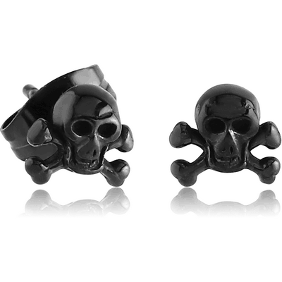 BLACK PVD COATED SURGICAL STEEL EAR STUDS PAIR - DANGER