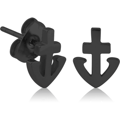BLACK PVD COATED SURGICAL STEEL EAR STUDS PAIR - ANCHOR