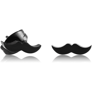 BLACK PVD COATED SURGICAL STEEL EAR STUDS PAIR - MUSTACHE