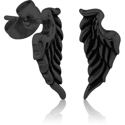 BLACK PVD COATED SURGICAL STEEL EAR STUDS PAIR - WING