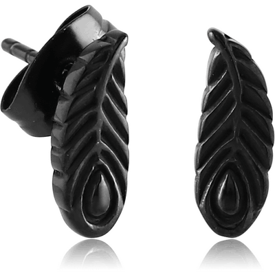 BLACK PVD COATED SURGICAL STEEL EAR STUDS PAIR - FEATHER
